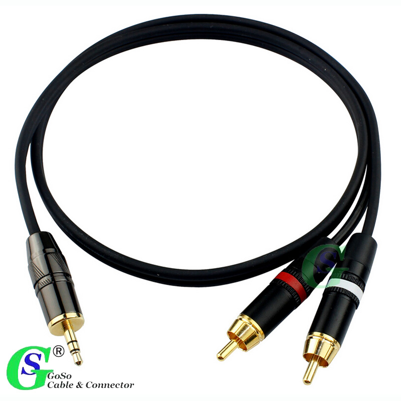 GoSo 3.5mm 1/8 Stereo Male Plug to 2 Male RCA Jack Adapter Audio Y Cable S32 1.5M-30M(China (Mainland))