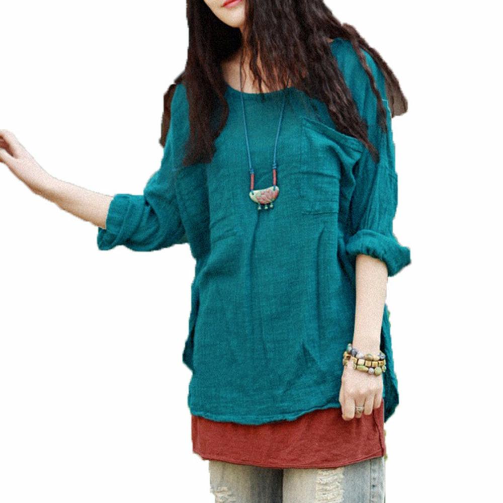 4 Colors 2015 Spring Autumn Fashion Women Ladies Loose Solid Tops Casual 3/4 Sleeve Cotton Linen Blouse Shirt Blusas Femininas(China (Mainland))