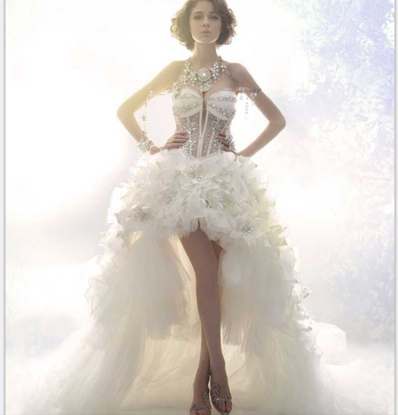 Wedding Dress Short Corset : Real photo summer style design luxury crystal see through