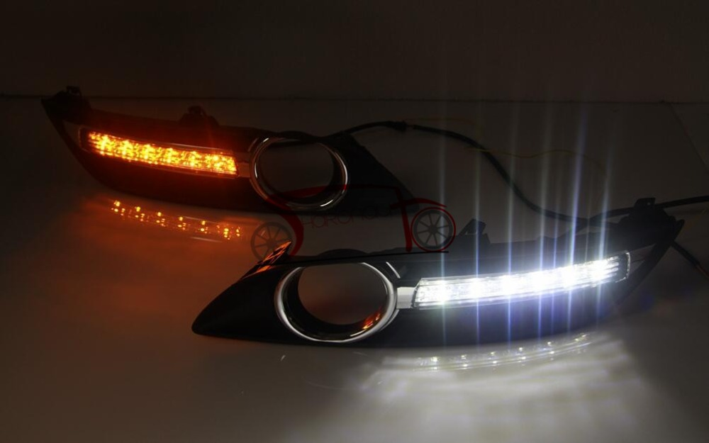 Car DRL LED Daytime Running Llights Fog Lights Nissan Sylphy Daylight Yellow Turn Signals - Sharon's auto parts store