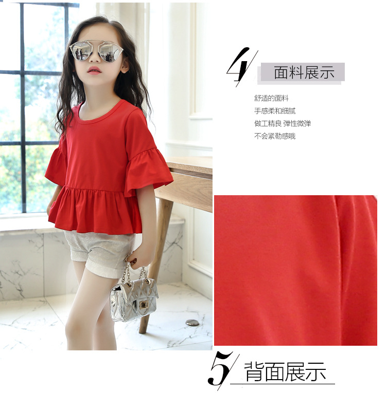 School Children In The Child Loose Sleeve Cuff Cotton Blouse In Red Pleated Hem a T-Shirt