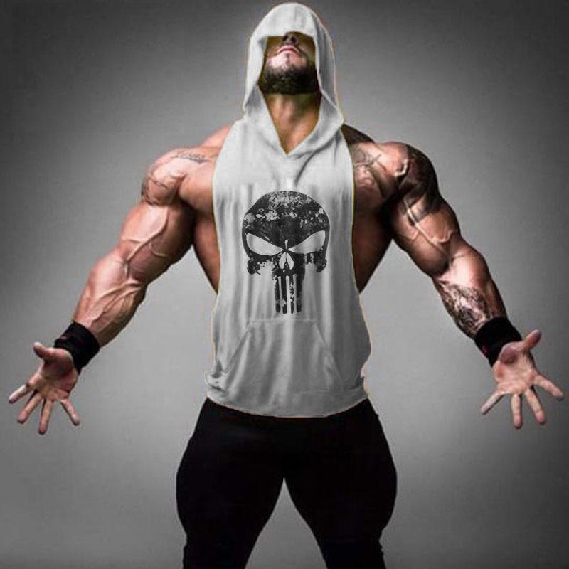 2016 Brand Men's Skull Printed Sleeveless Hooded Vest Golds Bodybuilding Stringer muscle Hoodies Men Tank Tops - Charming Man's World store