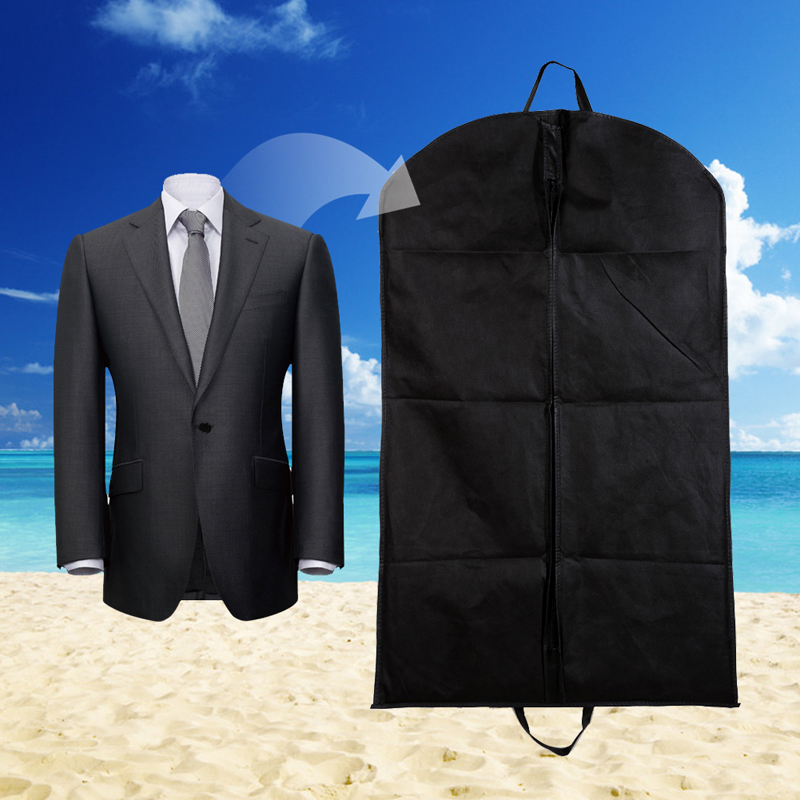 High Quality 1 PC Non Woven Fabric Black Dustproof Hanger Coat Clothes Garment Suit Cover Storage Bags 100 x 60cm 2 Sizes(China (Mainland))