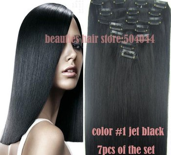 """free shipping 16""""-28"""" 7pcs set 100% soft indian remy hair clips in/on human hair extensions #1 jet black 70g 80g 100g 120g 140g"""