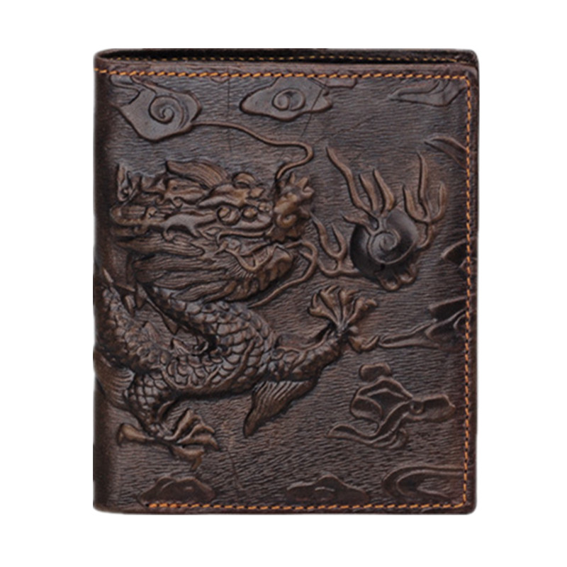 Hot sale!2016 Fashion Brand Design Chinese dragon Pattern Genuine Leather Men's Wallets High Quality Really Leather Purse(China (Mainland))