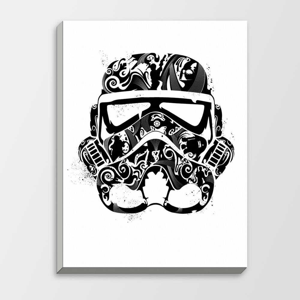 Star Wars Abstract Trooper Mask Minimalist Black White Pop Movie Poster Gifts Bedroom Wall Art