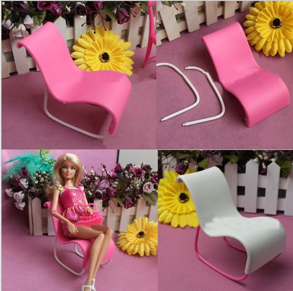 New Brand Accessories1Pc Furniture Rocking Beach Chair Lounge For Barbie Doll Princess Dreamhouse(China (Mainland))
