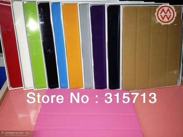Cheapest 11 colors can be choose Leather case Smart  stand Cover case aluminum hinge magnetically aligns  case  for ipad 4,3,2,