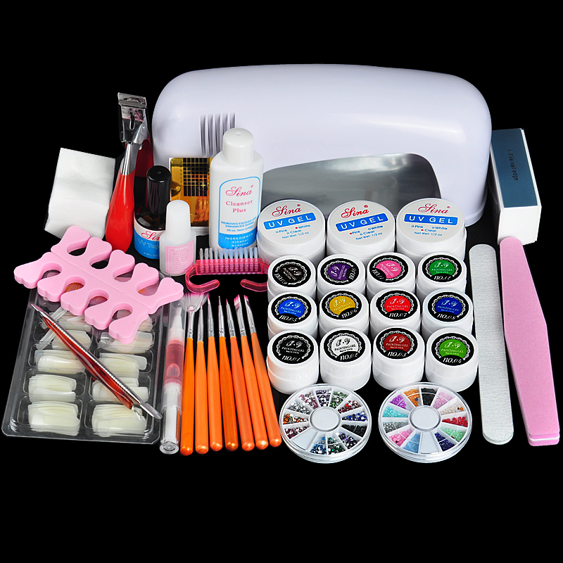 Professional Full Set UV Gel Kit Nail Art Set + 9W Curing UV Lamp Dryer Curining Manicure Tools(China (Mainland))
