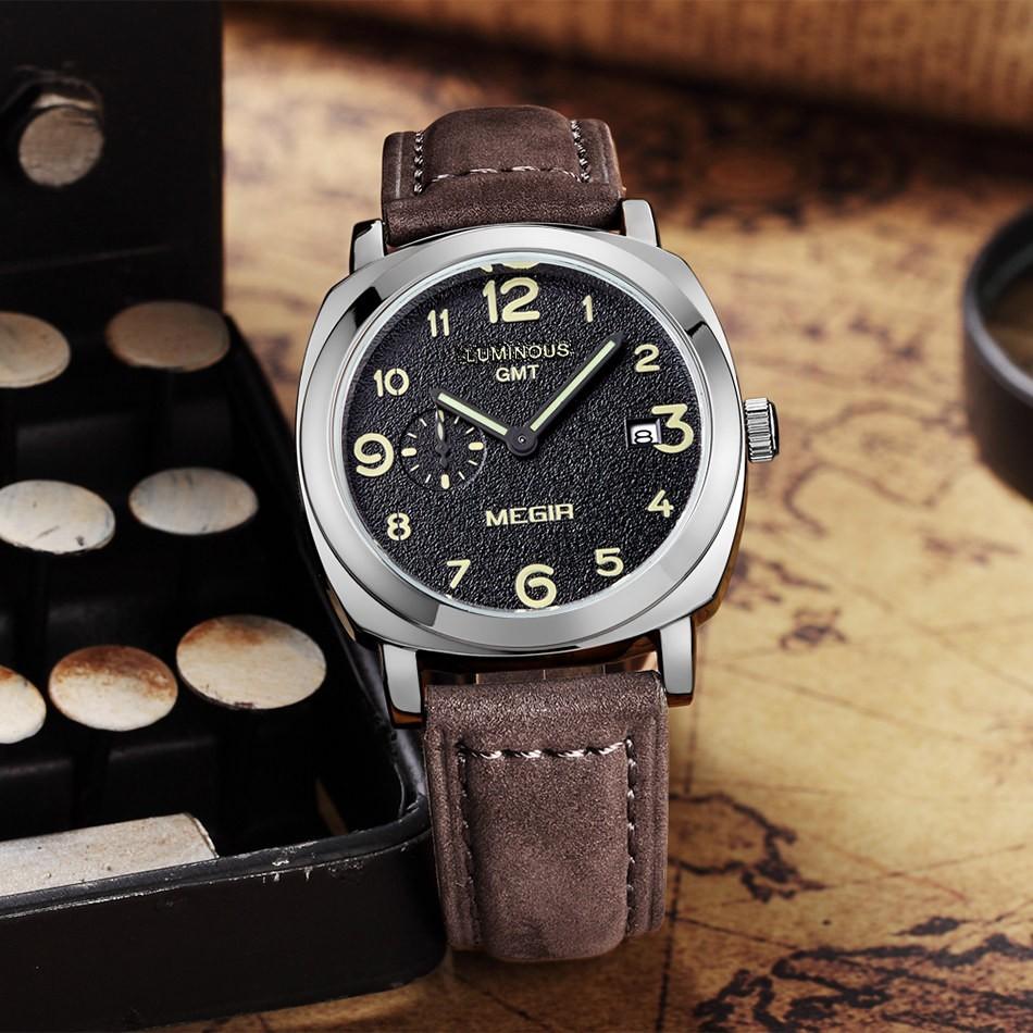 MEGIR Мужчины Горячие Продажа Известный Бренд Моды Спорта Кварцевые Часы Час Часы Кожаный Ремешок Водонепроницаемый Наручные Часы Мужчины Relogio