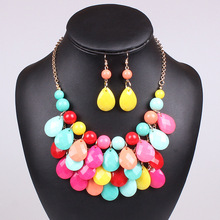 urope and the United States popular bubble Bib collar type multilayer Multicolor Necklace Earrings Jewelry Set wholesale