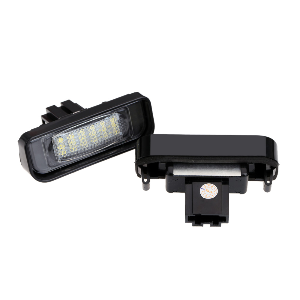 Hot 1Pair Car LED License Plate Light Lamp 12V Error Free 18 3528 SMD for Benz W220 1999-2005 Light Sourcing White Headlights(China (Mainland))