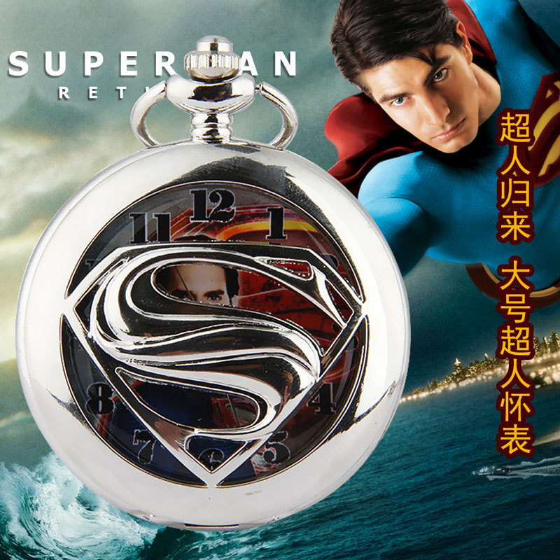 2015 Reloj Watches Men New Retro Personality Large Necklace Pendant Ornaments Superman Man Table Factory Direct(China (Mainland))