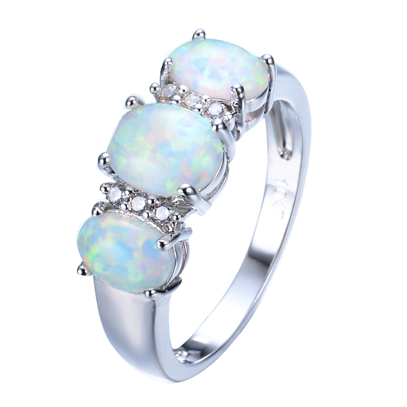 New Sale Unique Round Fire Opal Ring White Gold Filled
