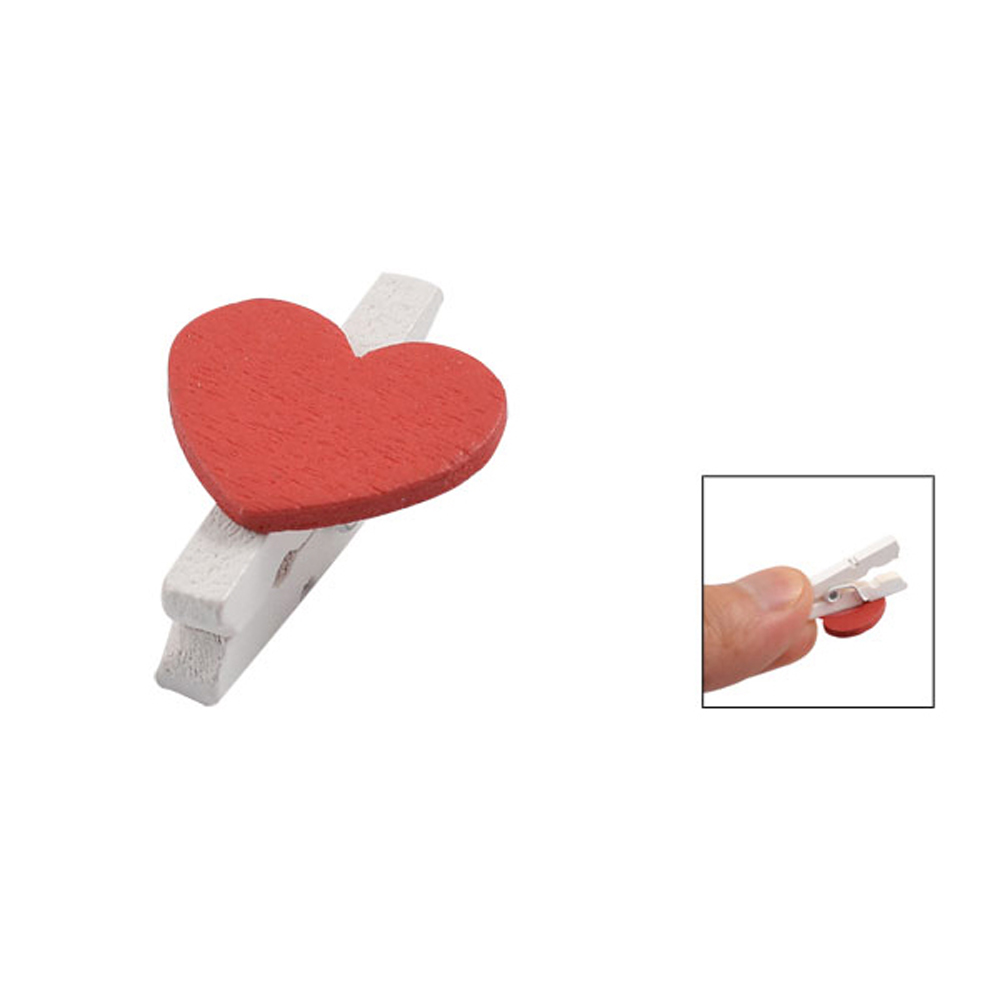 2015 Hot 50 Pcs Red Heart Accent White Wooden Spring Clothespins Memo Clips(China (Mainland))