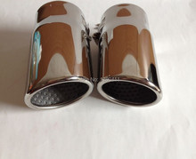 NEW 1Pair Silver S-line Chrome Exhaust Muffler Tip Fit for VW AUDI A4 B8 Q5 1.8T 2.0T(China (Mainland))