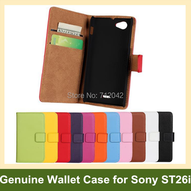 100pcs x Genuine Leather Wallet Case for Sony Xperia J ST26i Flip Cover Case for Sony Xperia J ST26i DHL/EMS Free Shipping