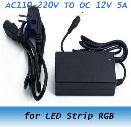 EU AC110-220V TO DC 12V 5A 60W power supply AC adaptor line for LED Strip RGB 20pcs(China (Mainland))