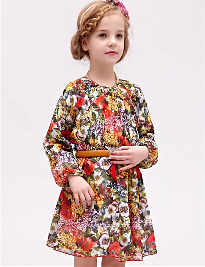 new style girls baby Printed chiffon dress Spring summer Long sleeve dresses Childrens wear wholesale<br><br>Aliexpress