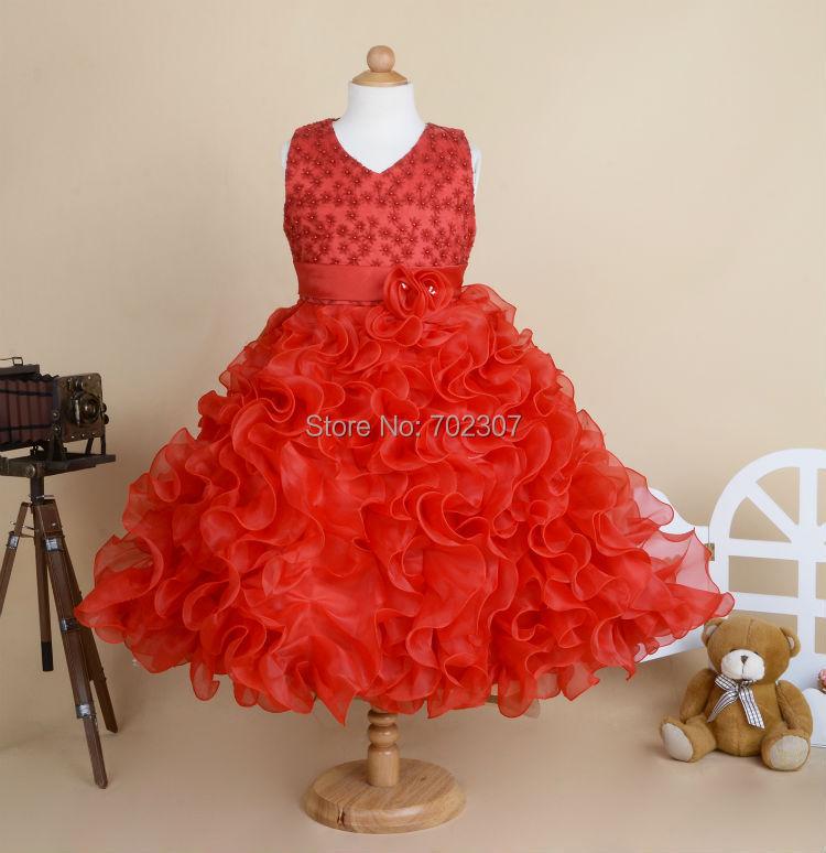 Wholesale 2015 New Style girls wedding dress girls princess dress party dress flowers dress size:90-150 14pcs/lot free DHL P-018