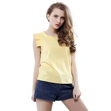 Fashion Women Summer Blouse O-Neck Butterfly Sleeve Solid Shirt Elegant Leisure Chiffon Blouses
