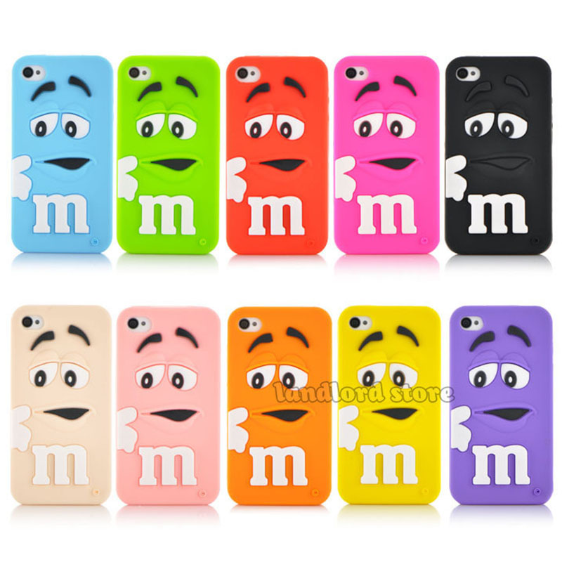 Popular New arrival 3D Cartoon M&M Chocolate Candy model silicon material Cover Case for iphone 4 4s 4s PT1358(China (Mainland))