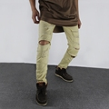 Newest Fashion Designer Mens Gold Zipper Distressed Pants Ripped Black And White Skinny Destroyed Pants Denim