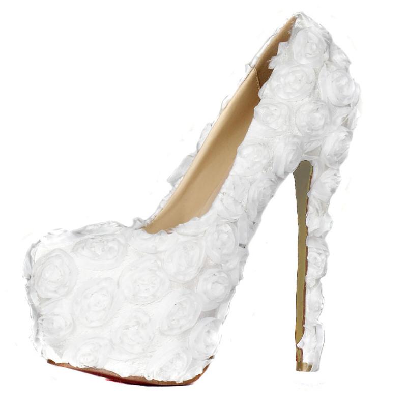 Handmade Pure White 3D Rose Flower Women Thin Heel 14cm Pumps Wedding Shoes High Heel Party Pump Bridal/Bridemaid Shoes Platform<br><br>Aliexpress