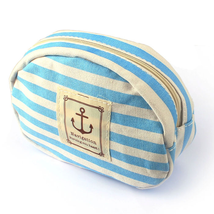 Travel Portable Navy Cross Stripes Cosmetic Bag Make up Toiletry Holder Pencil Pouch Beauty Wash Bags