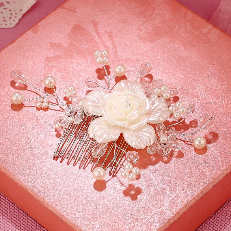 2016 new hair comb white flower hair accessories pearl handmade bridal hair comb Hair Pin Accessories Jewelry(China (Mainland))