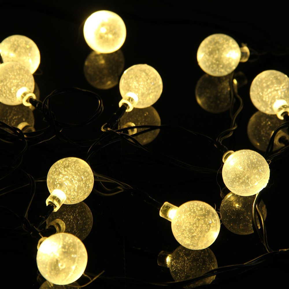 NEW 4.8M 20leds Solar LED String Lights Crystal Ball LED Strands Lights for Holiday Xmas Festival Garden Outdoor Light 4colours(China (Mainland))