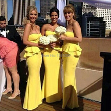 Graceful Yellow Long Strapless Off The Shoulder Mermaid Bridesmaid Dresses