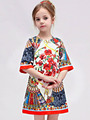 Retail Girl Summer Dresses New Designer Floral Print Folding Fans Italy Luxury Brand Baby Girls Prom