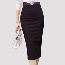 2016 Hot Sale Ladies Skirt OL Women Slim Fitted Knee Length High Waist Straight Career Pencil Skirts Plus Size S-5XL 1565(China (Mainland))