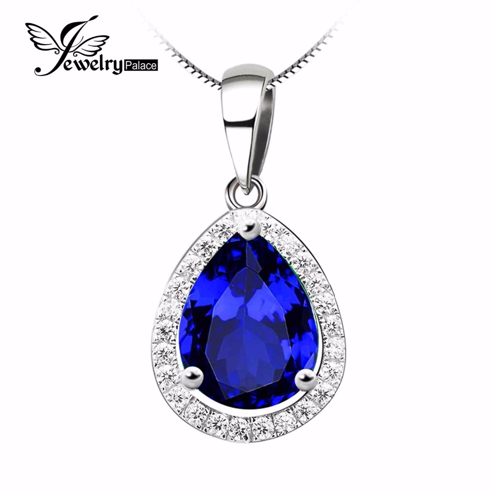 5.7ct Blue Sapphire Pendant Genuine 925 Solid Sterling Silver Pear Cut Brand New Women Fashion Wedding Fine Jewelry - Jewelrypalace Gemstones store