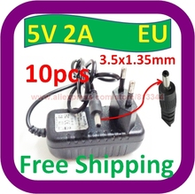 10 piece Free Shipping 5V DC 2000mA (2A)EU plug Regulated Power Supply 3.5mm 1.35mm Tip Extra Adapter Charger(China (Mainland))