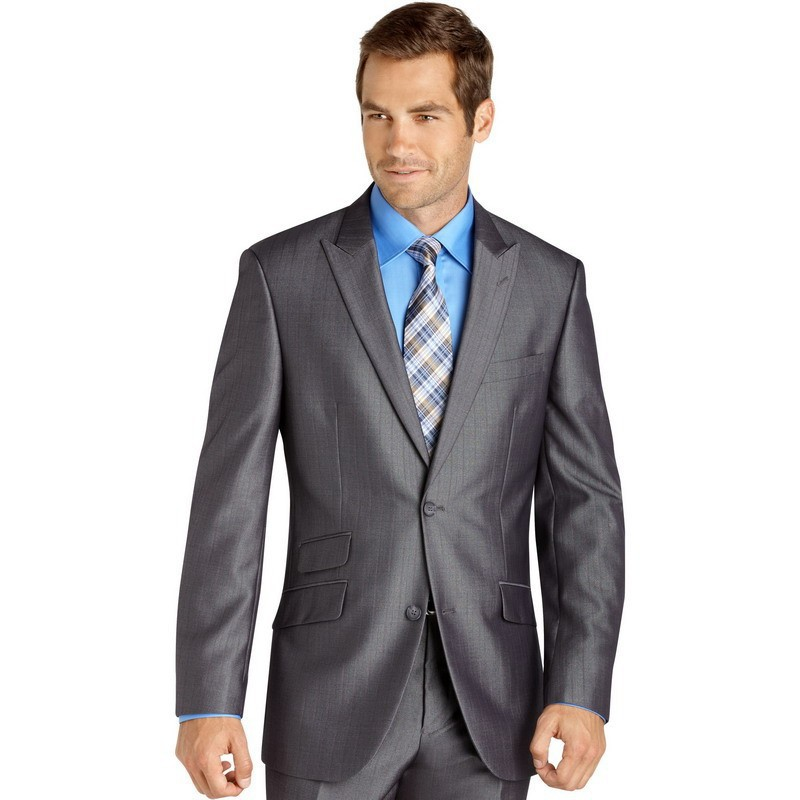 New Design Gray Bridegroom Wedding Suits For Men Blazer Peak Lapel Trim Fit Costume Homme