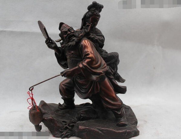 """wholesale factory 10""""China Chinese Folk Bronze Famous The ghost teache Zhong Kui back Belle Statue(China (Mainland))"""
