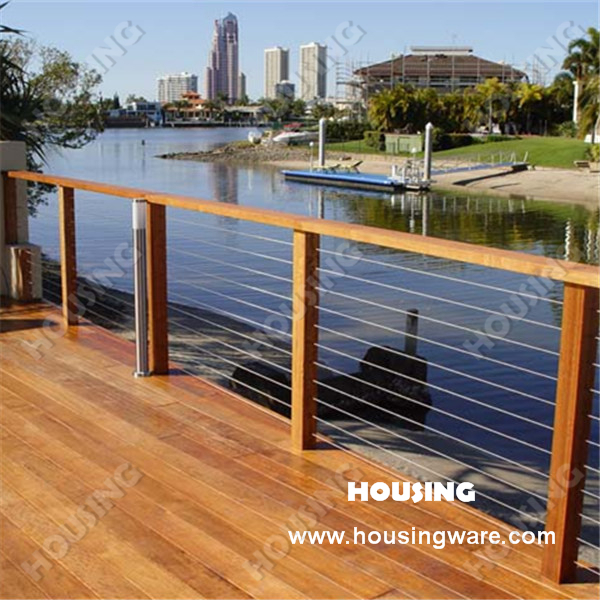 Outdoor Stainless Steel Wire Railing Designed For Deck On Al
