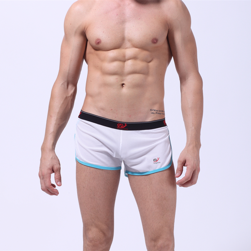 2016 New Mens Bikini Underwear Boxers Jockstrap Outsourcing Really Mesh Aperture Ring Sports Shorts Size S-L 2010YD-1(China (Mainland))