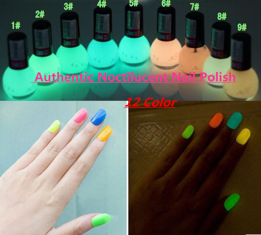 Non-toxic Neon Fluorescent Luminous oil matte nail polish candy 12 colors transparent Nail Varnish Lacquer Paint Nail Art(China (Mainland))
