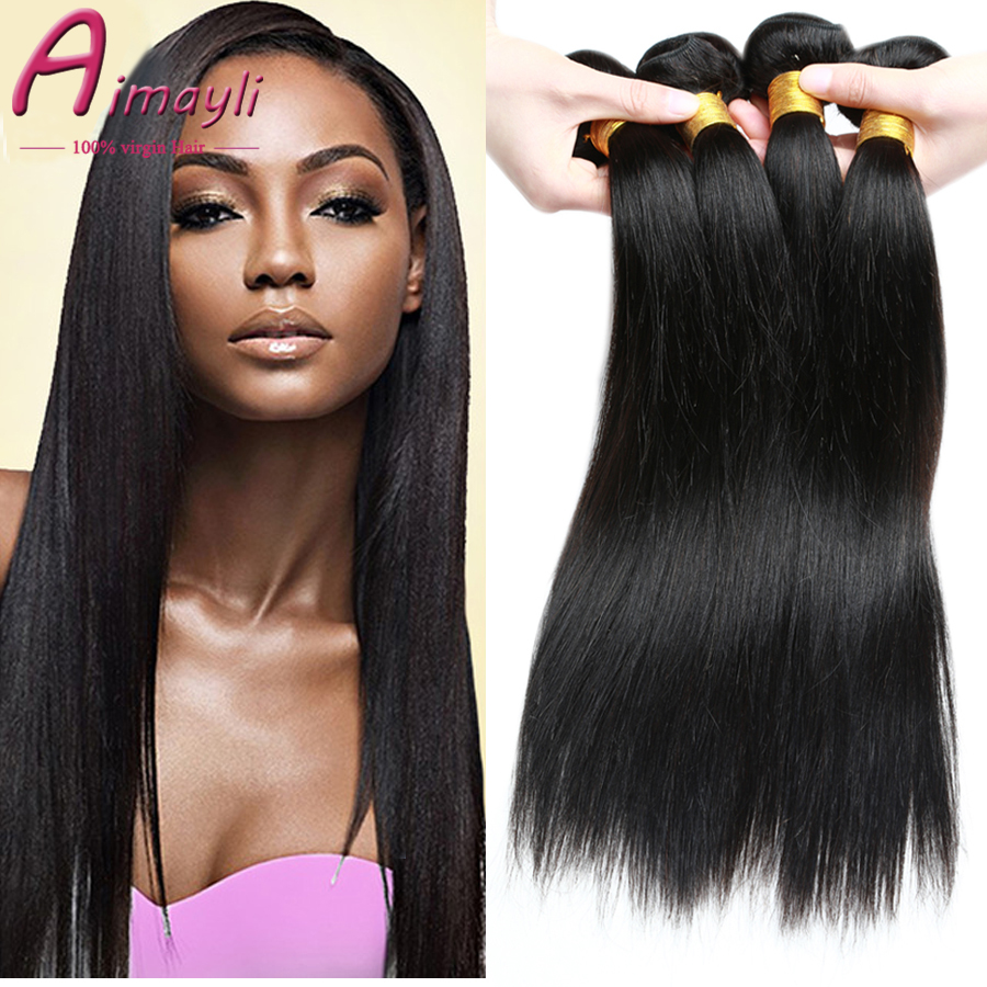 Cheap Brazilian Hair 4 Bundles Straight 7A Mink Brazilian Hair Straight Weave Bundles 100% Brazilian Human Hair Sew In Weave