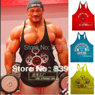 Men's Muscle Golds Gym Vest,Power&Gorilla Wear, Regatas Fitness&Bodybuilding&Workout Tank Tops,100% Cotton Training Undershirt(China (Mainland))