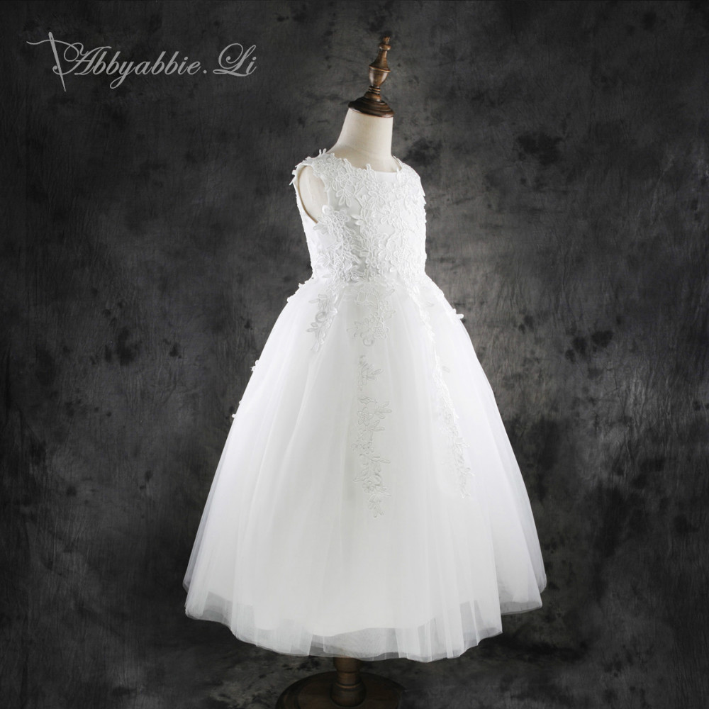 2016 New arrival Princess Lace Dress Girls Wedding Party White Formal Communion Gown Bridesmaid Tulle Kids Costume #160817_h36(China (Mainland))
