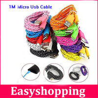 10Pcs/Lot 3FT/1M Durable Braided Micro USB Cable Charging Charger Data Sync Cable Cord For Samsung  HTC Nokia Ate Android