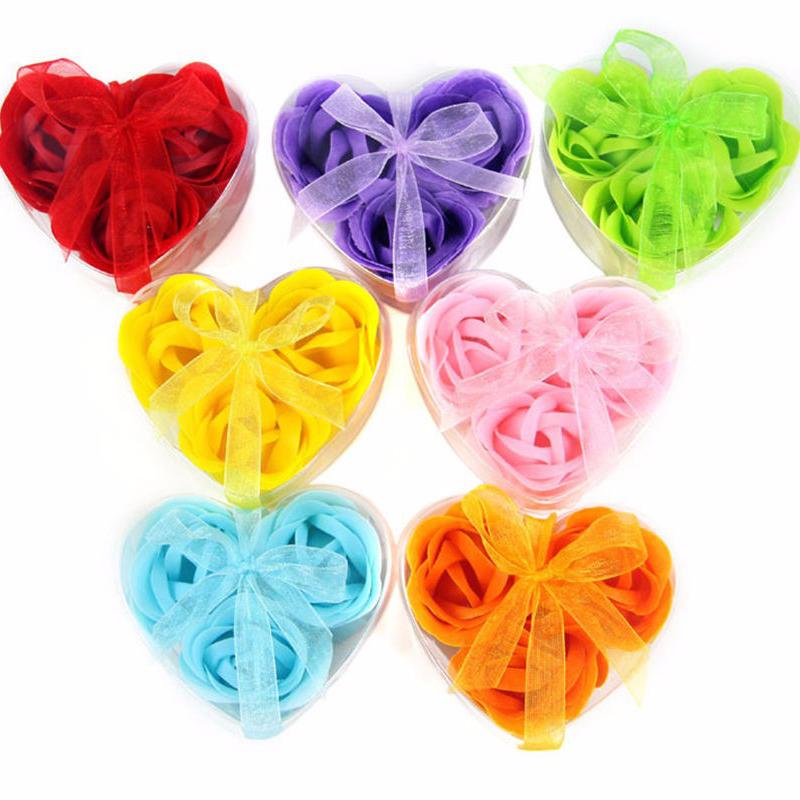 Valentine's Day Gift 3Pcs/box Body Bath Soap Rose Petal Whitening Soap Wedding(China (Mainland))