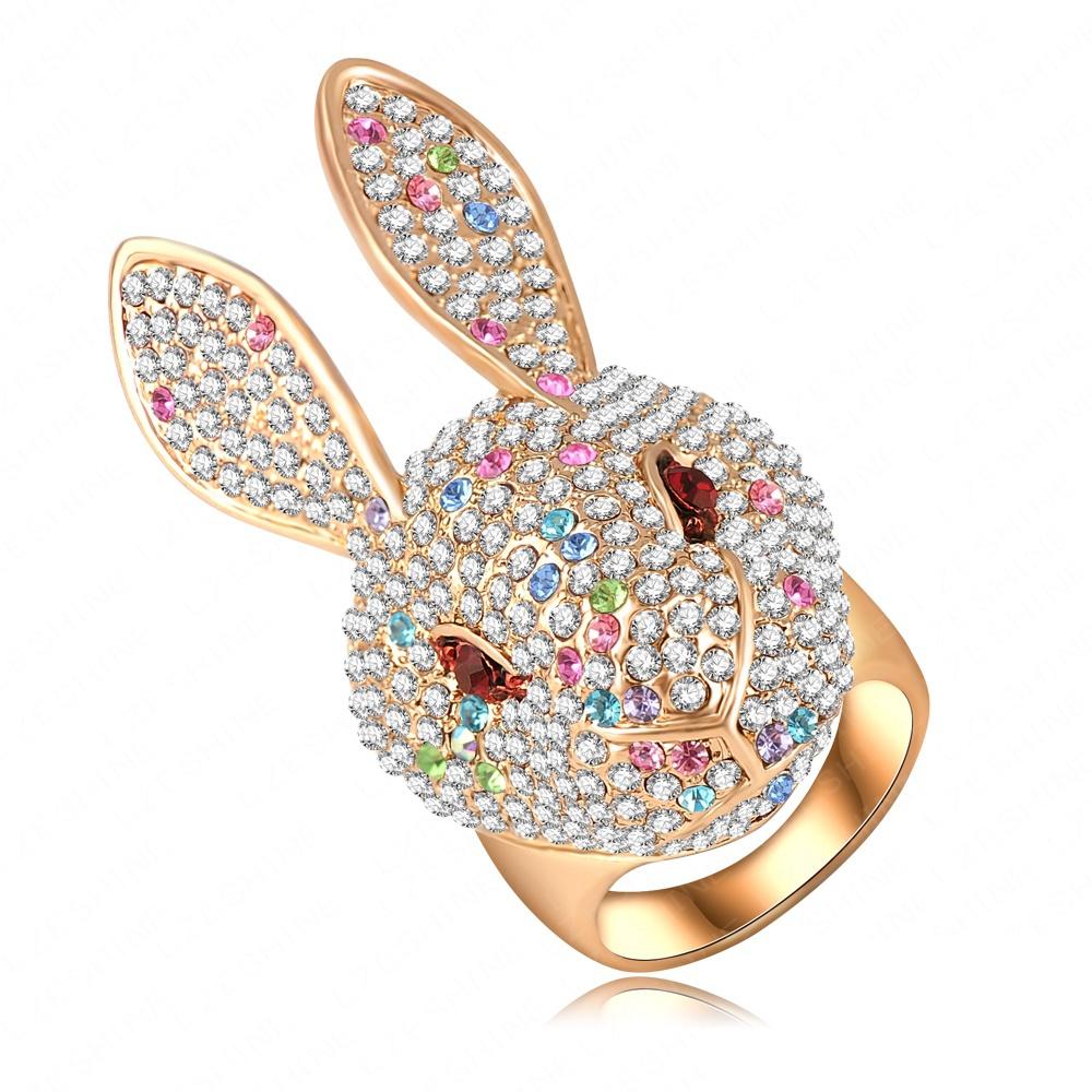 Fancy Design Rabbit Shape Big Finger Ring Wholesale 18K Gold Plated Genuine Austrian Crystal Animal Rings for Women Ri-HQ0344-b(China (Mainland))