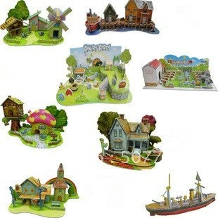 New arrival! Fashion Wholesale 3d puzzle children toy diy handmade futhermore paper model 3pcs/lot,CPMA Free Shipping