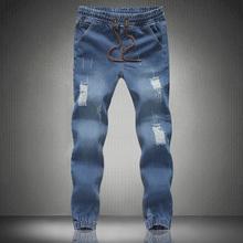 HOT SALE Mens Jogger Jeans New Fashion Drawstring Slim Fit Denim Men's Cuffed Joggers washing Jeans Pencil Pants Casual Jogging(China (Mainland))