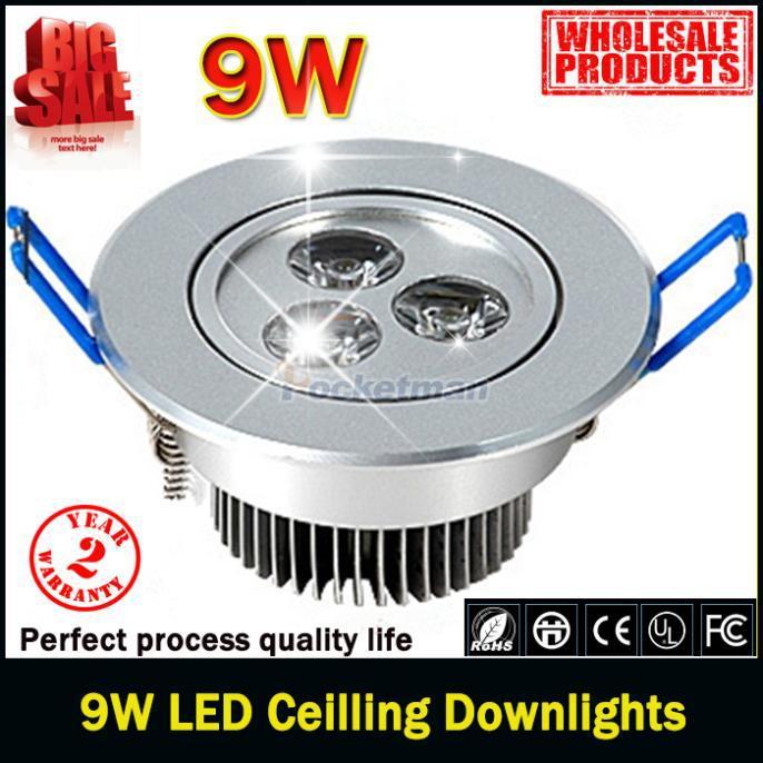 1pcs/lot 9W Ceiling downlight Epistar LED Spot ceiling lamp Recessed light 85V-245V for home illumination Brand Wholesale(China (Mainland))